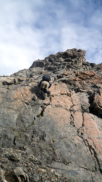"""Me downclimbing """"the 20m abseil"""" between the low and high peaks of Oates (photo James Thornton)."""