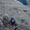 Me climbing to the West Ridge of Oates, Lake Mavis below (photo James Thornton).
