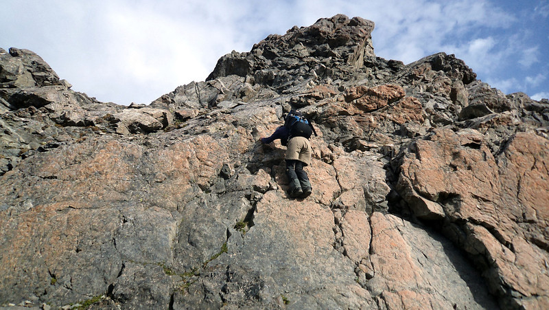 "Me downclimbing ""the 20m abseil"" between the low and high peaks of Oates (photo James Thornton)."