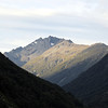 Mt Oates from the Mingha/Bealy confluence. We climbed the west ridge to the low peak on the left, traversed to the high peak in the centre and then descended the south ridge on the right all the way to Williams Saddle just left the bushy spur on the right of the image.