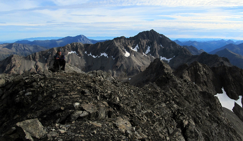 Me on the low peak of Mt Oates, Mt Franklin behind (photo James Thornton).