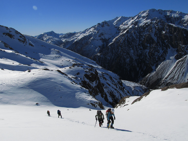 Making out way up the snow fields towards the summit of Mt Philistine.