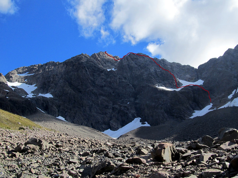 Mt Rolleston at the head of the Otira Valley. Our route to the High peak is the buttress in the centre image.