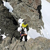 One 30 m abseil brought us across the schrund and onto the Crow Glacier.