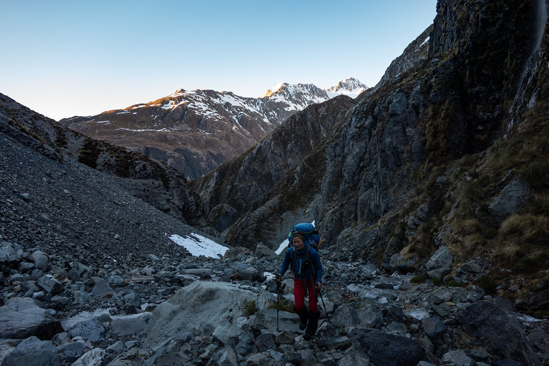 Making our way up to Harman Pass at sunrise the next morning (photo - James Thornton).