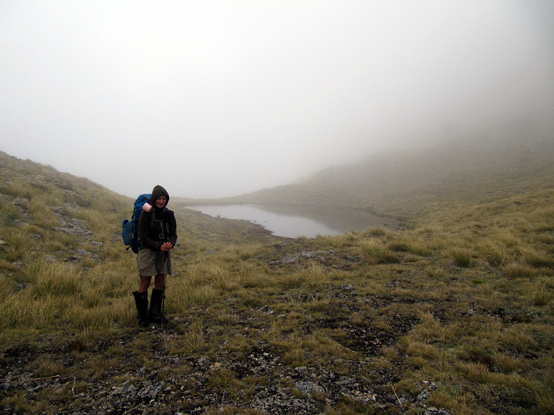 Reaching the tarn camp in the mist.
