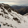Dave nearing the summit, Harper-Avoca confluence below.