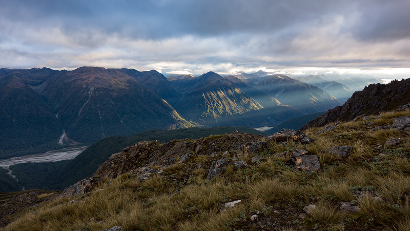 Sunrise over Harper Pass, Taramakau below.