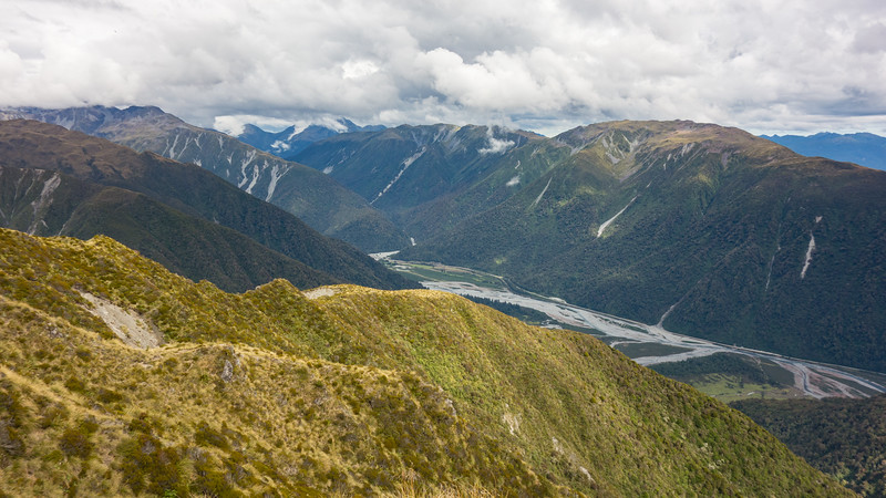 The previous day we topped out on the ridge in the centre image just above where it flattens off, Otira Valley with the highway below.