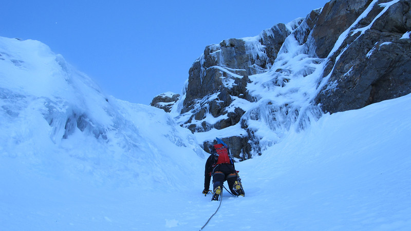 Andrew approaching the ice bulge on the first pitch.