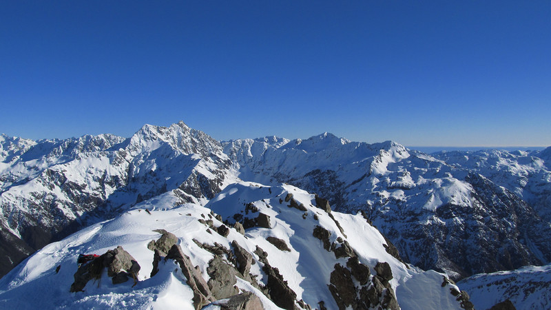 Mt Rolleston and Philistine from the summit of Phipps Peak.
