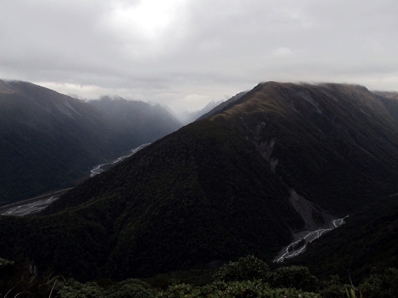 View down to the Otira (left) and Kelly Stream (right) from Caroll Hut.