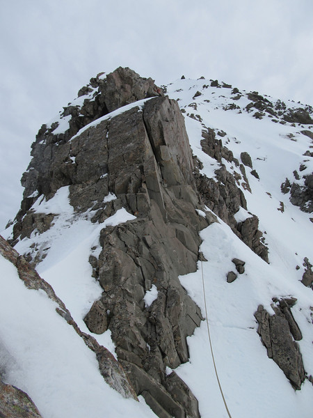 The second pitch along a rocky section of the ridge.