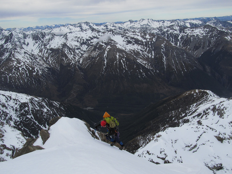 Soloing the last bit to the summit.