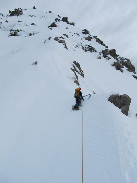 One of many pitches along the icy ridge.