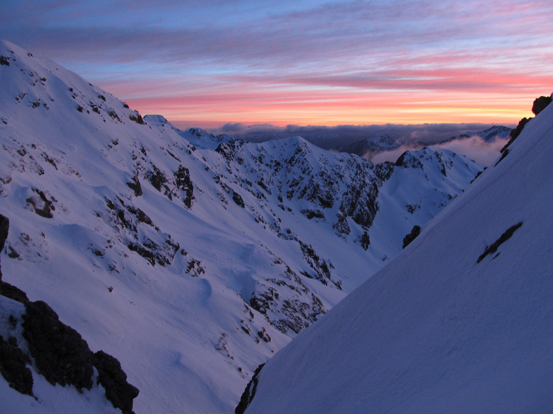 Sunrise at the gap, looking down the Bealy.