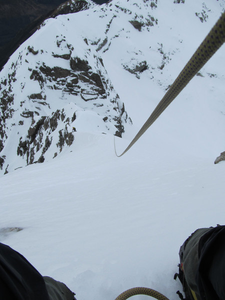 One of many pitches along the icy ridge -looking down between my legs.