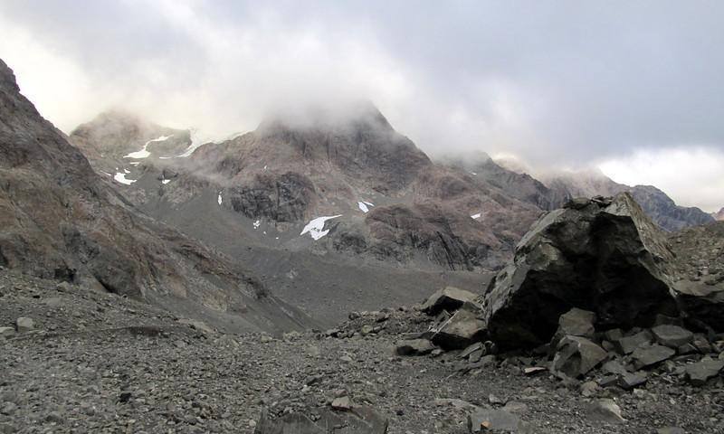 Mt Rolleston above the head of the Waimak.