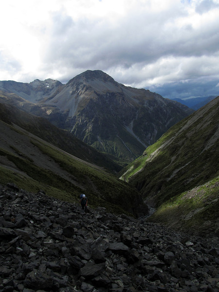 Sidling the scree slopes above the Rolleston River.