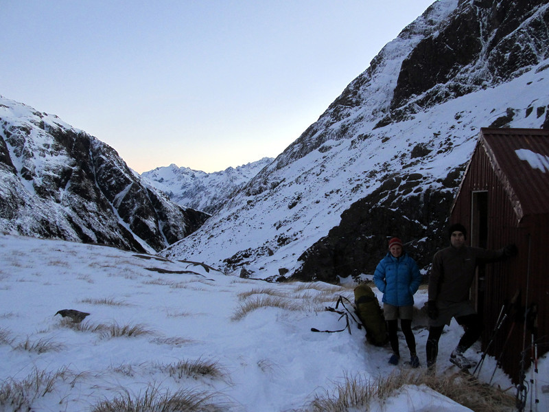 At the hut, Mt Murchison behind.