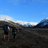 Walking up the Waimak, Mt Harper above.