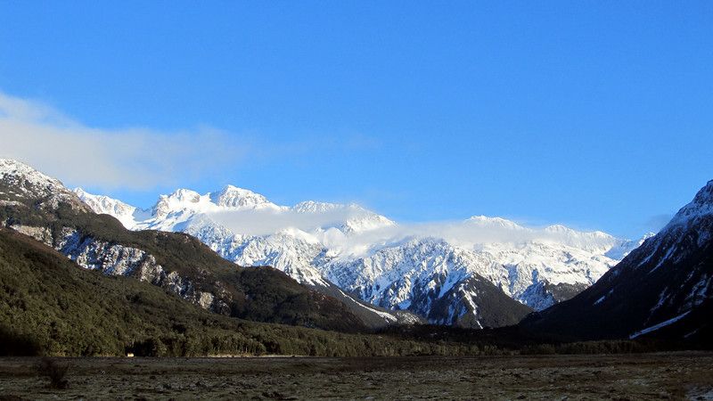 Looking up the Waimak towards the Shaler Range.