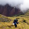 Descending to Simonin Pass, ultramafic slopes behind.
