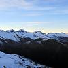Snowdrift Range from left to right: Wahine, Maori, Maiti-iti, Maruiwi, Maoriri, Whibourn Saddle, Pivot Peak, Snowball Glacier and Mt Lydia.