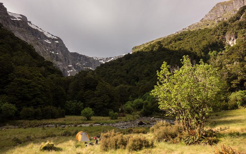 Camp in Waterfall Creek.
