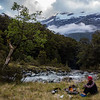 Camp at the Bettne Flats, Haast Range above.