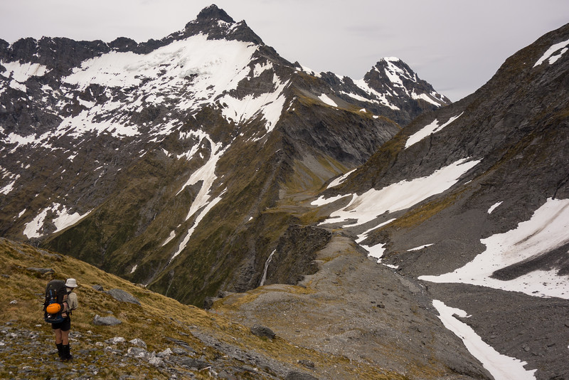 On easier ground - starting the descent to Rabbit Pass, Pickelhaube  above.