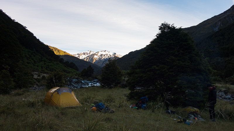Camp downstream of Ruth Flat looking up to Lois and Aspinall Peaks.