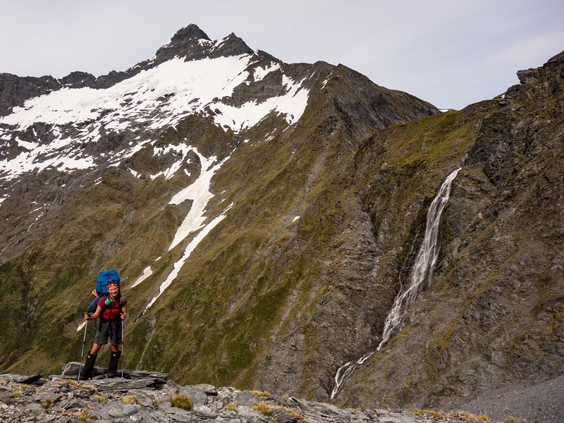 Pickelhaube and the waterfall draining Rabbit Pass.