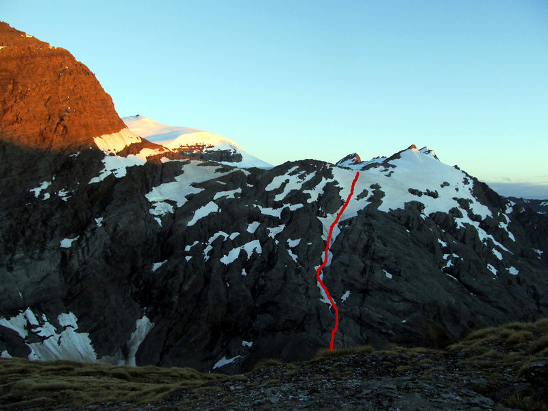 The route onto the Volta follows up a snow lead right of the centre image, where the Tartarus Icefall once was.