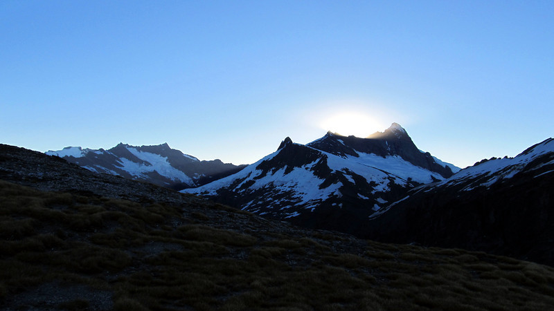 Mts Avalanche and Aspiring at sunset from Wilmot Saddle.