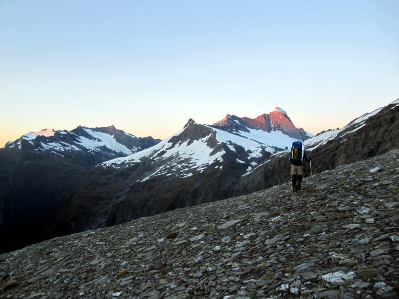 Mts Avalanche and Aspiring at sunrise (photo - James Thornton).