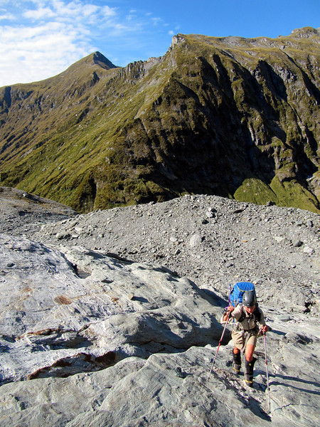 Climbing up on the other side towards the Volta, the route off Wilmot Saddle behind (photo - James Thornton).