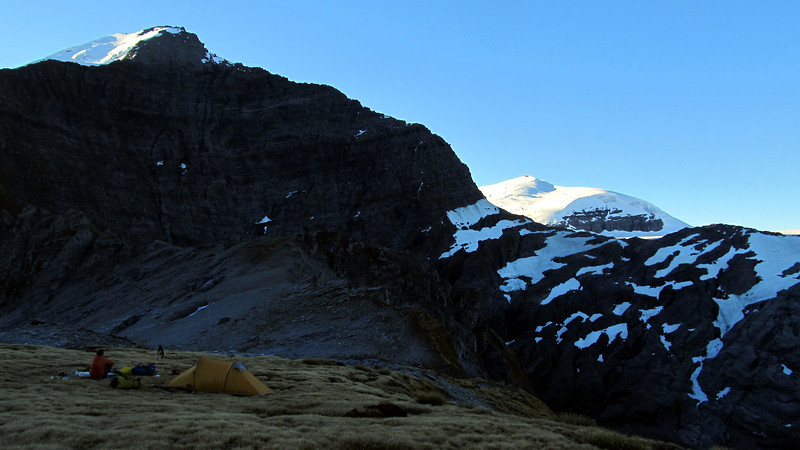 Our camp under the East Face of Fastness, Glacier Dome on the right.