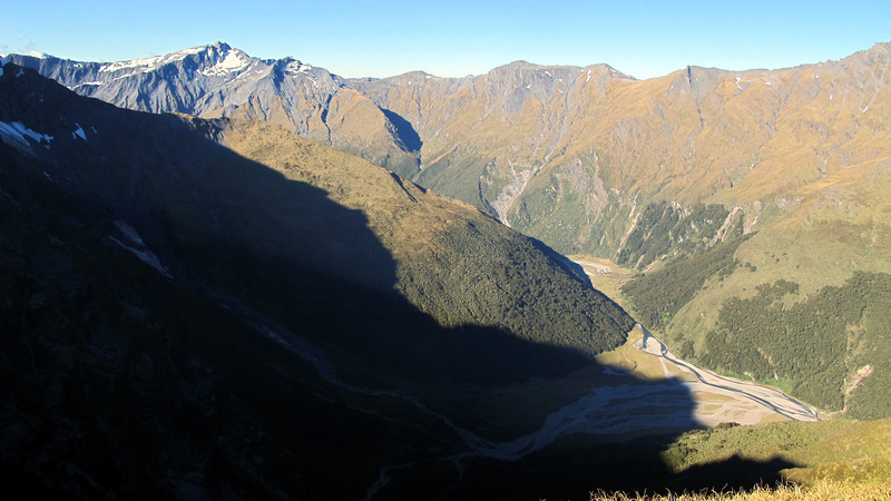 Looking down to Ruth Flat from Wilmot Saddle.