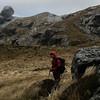 Jaz on storm-swept Park Pass.