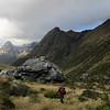 Jaz on the way to Park Pass, the bivvy rock behind.