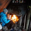 A very welcome fire after arriving at the hut soaked to the bone.