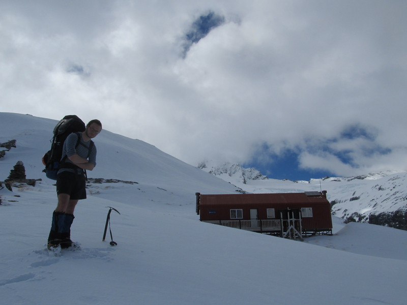 Arriving at French Ridge Hut.