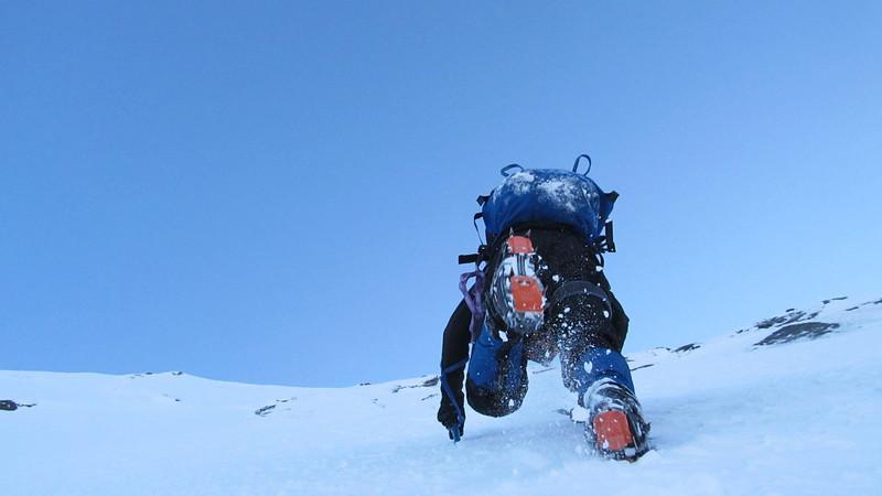 Gaining the ridge.
