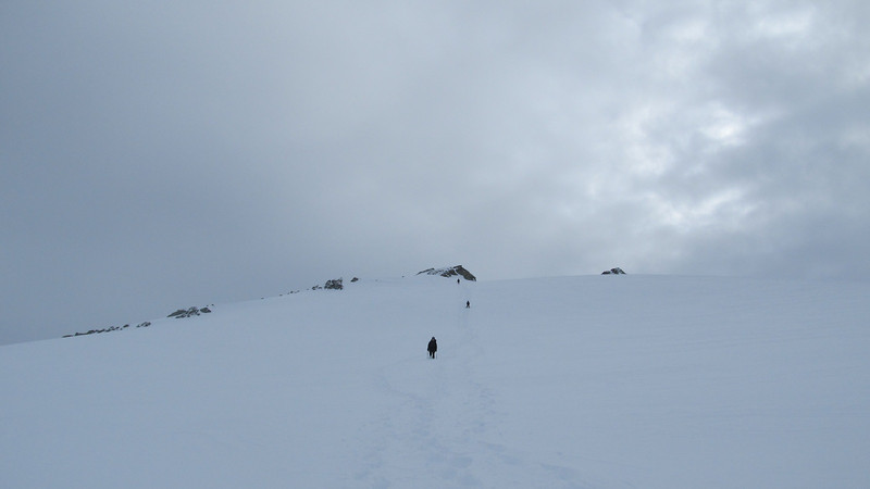 Descending from the summit.