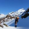Reaching the top of Clarke slip, East Peak of Earnslaw behind.