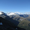 The Forbes: Moira, OSONZAC, Mt Clarke. Mt Aspiring in the centre right covered with cloud.