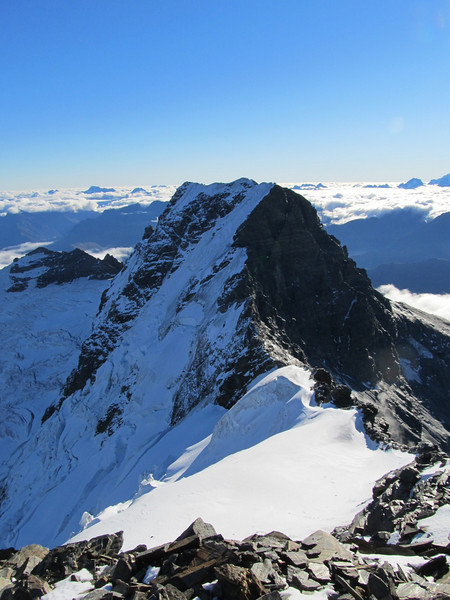 West Peak of Mt Earnslaw seen from the East Peak.