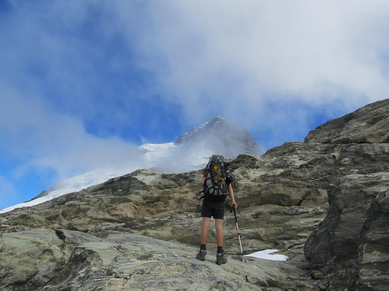 Almost at Wright Col, East Peak of Earnslaw poking out of the cloud.