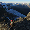 Descending the last few metres to Esquilant Biv in the setting sun.